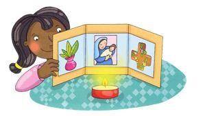 Angolo preghiera con Maria: da costruire e colorare.