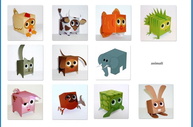 Papercraft animali cubo matitecolorate for Case facili da costruire